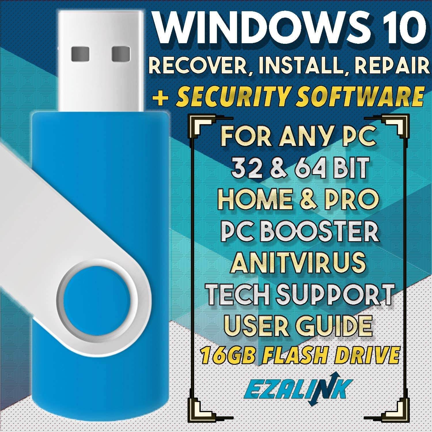 Ezalink USB for Windows 10 Repair Recovery Install Restore Boot Fix Flash Drive | 32 & 64 Bit Systems Home & Professional All Brands w/ AntiVirus and Support