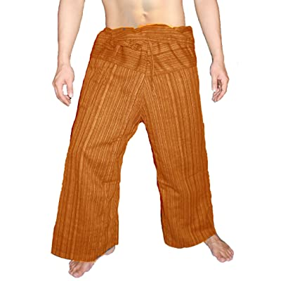100% Heavy Cotton Thai Fisherman Pants Yoga Pregnancy Pants Striped - Orange