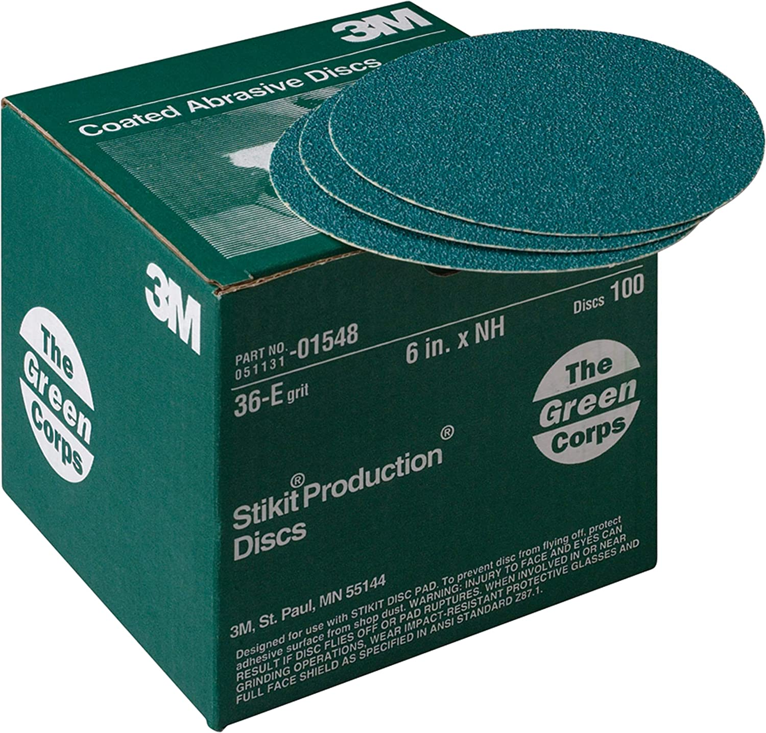 3M 1550 Green Corps Stikit Production Disc 8in 40E grit 50 discs shaping sand