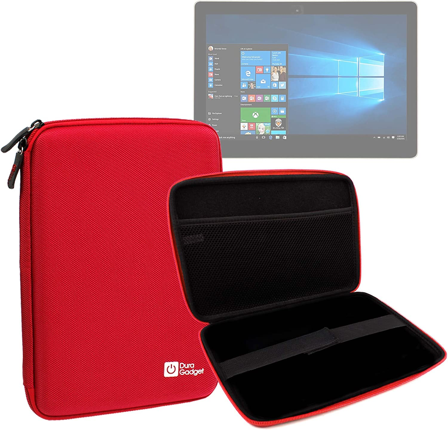DURAGADGET Water-Resistant Red EVA Hard Armoured 'Shell' Case with Internal Netted Pouch Compatible with The iOTA One 10.1-Inch 2-in-1 Laptop