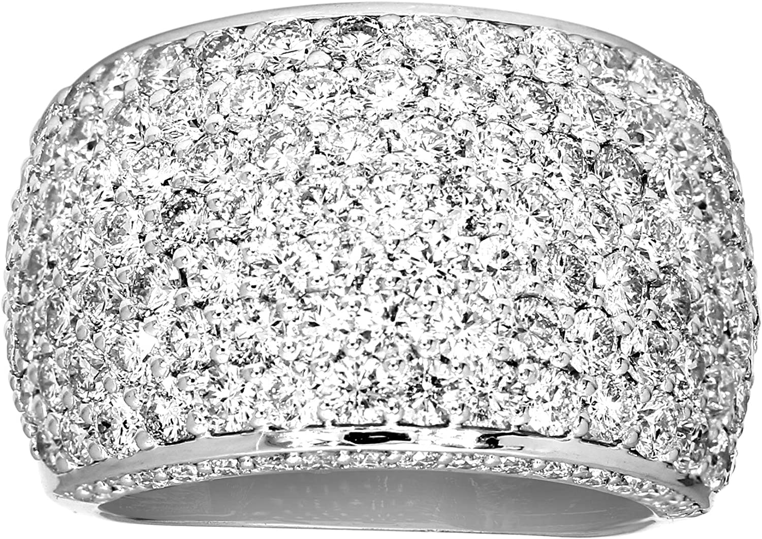 Mothers Day Gifts IGI Certified Lab Grown Diamond Rings 925 Sterling Silver 3 1/3 carat Lab Created Diamond Pave Ring For Women ( 3 1/3 CTTW, HI-SI Quality Diamond Gifts for Mom)