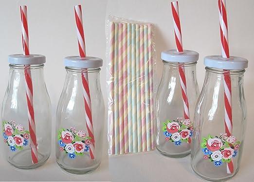 Retro Petite Pretty decorado de flores de botellas de leche con 2 ...