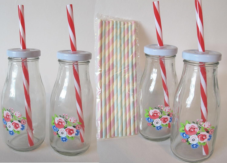 Retro Petite Pretty decorado de flores de botellas de leche con 2 rojo/blanco y 2 Pastel Verde/Blanco Rayas Pajitas de plástico reutilizables - perfecto ...