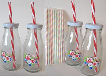 Retro Petite Pretty decorado de flores de botellas de leche con 2 rojo/blanco y
