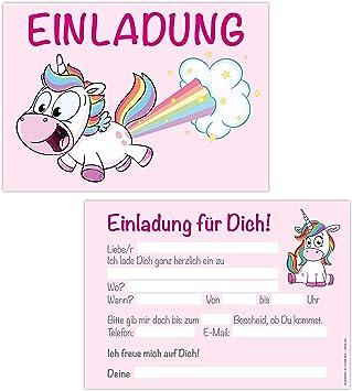 15er Kartenset Einladungskarten Kindergeburtstag Madchen Unicorn