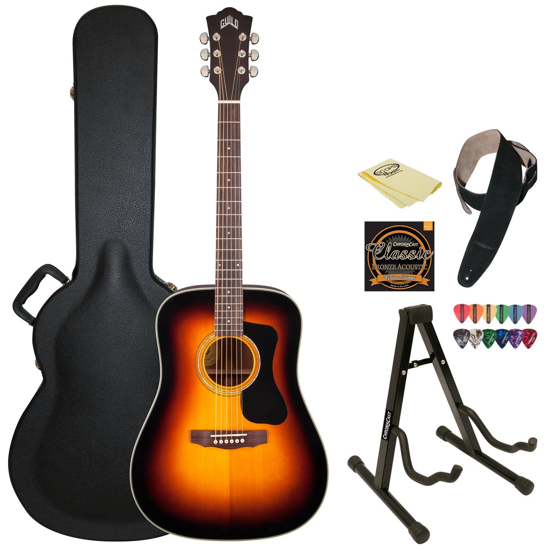 guild d 140 sb sunburst acoustic dreadnought guitar
