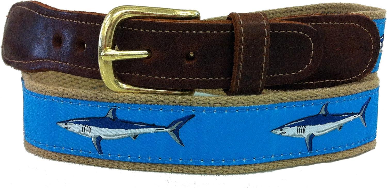 Mens Preston Leather Ribbon Light Blue /& Mako Khaki Shark Belt