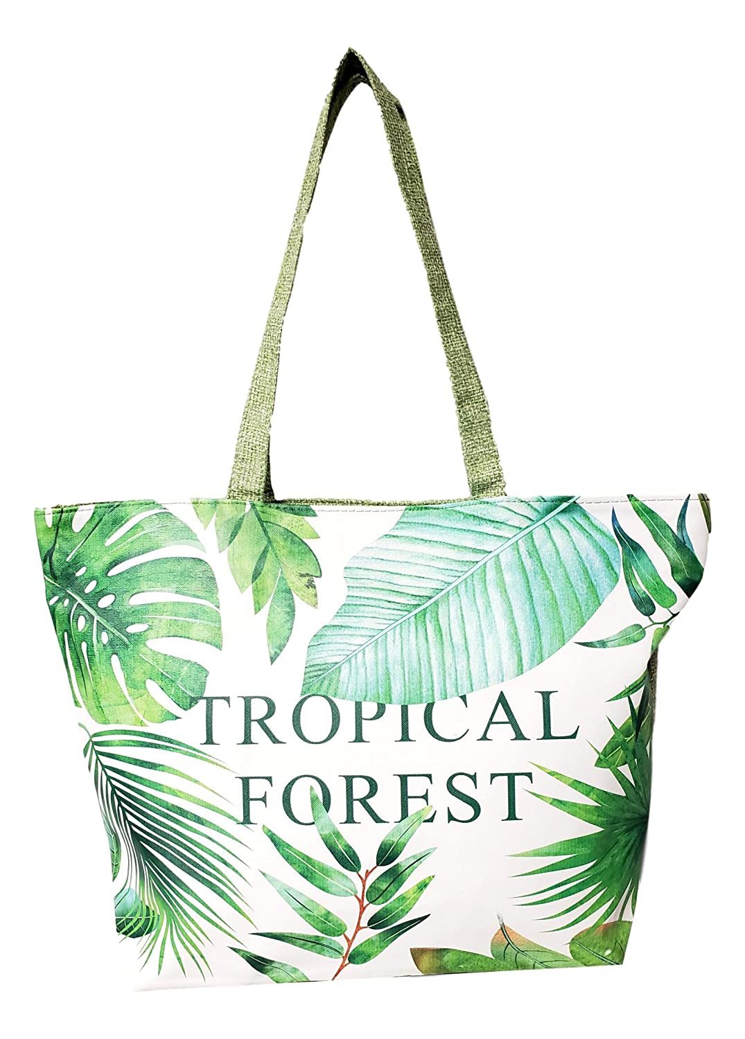 Colorful Summer Printed 18 inch Zipper Top Beach Tote Bag 101-106