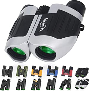 Kissarex Adults Compact Travel Binoculars: 10x25 Mini Small Size Lightweight Best Outdoor Theatre Tactical Hiking Kids Concert Sports Camping Low-Light Night Vision Waterproof