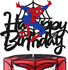 Spider man Cake Topper for Spider man Cartoon Themed Happy Birthday Cake Décor Kids Boy Birthday Party Supplies Black Decorations