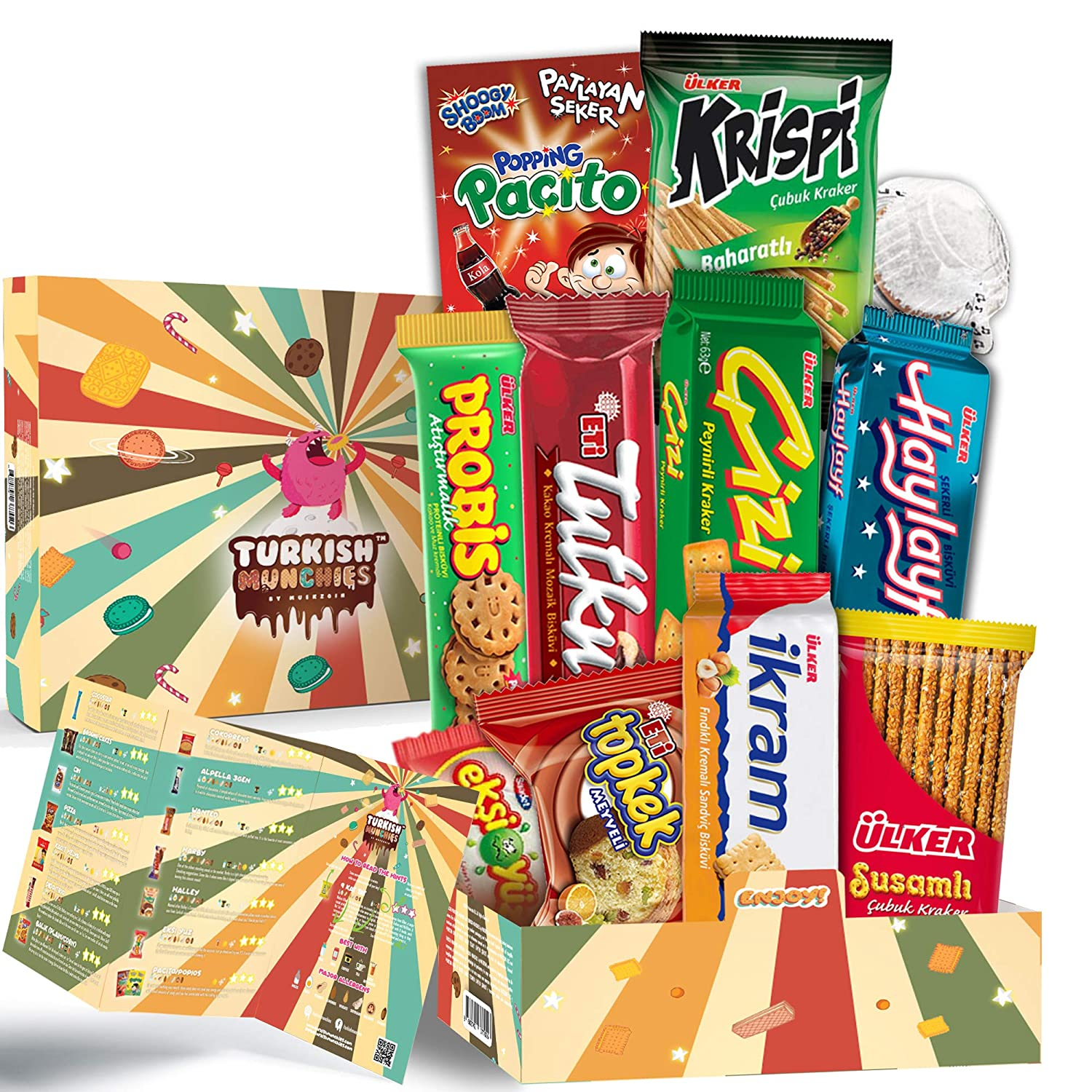 Retro Premium International Snacks Variety Pack Care Package, Ultimate Assortment of Turkish Treats, Mix variety pack of snacks, Foreign Candy or Foreign Snacks Box