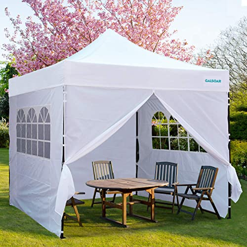 GALSOAR Outdoor Canopy, 10 x 10 Pop Up Canopy with Sidewalls, Portable Folding Canopies with Wheeled Carry Bag, Height Adjustable Commercial Instant Shelter, White