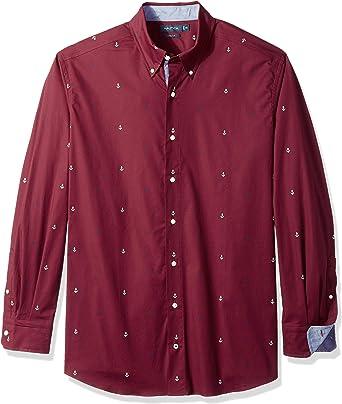 Nautica Hombre M83609 Manga Larga Camisa de Botones - Rojo - 2XLT Alto: Amazon.es: Ropa y accesorios