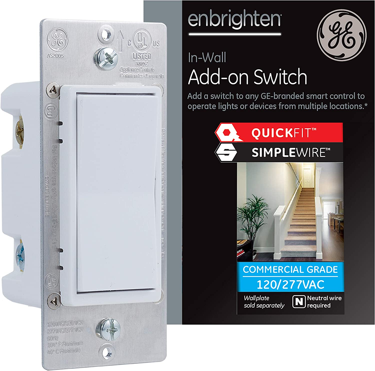 GE Enbrighten Add-On Switch with QuickFit and SimpleWire, GE Z-Wave/GE Zigbee Smart Lighting Controls, Works with Alexa, Google Assistant, NOT A STANDALONE SWITCH, White, 47334