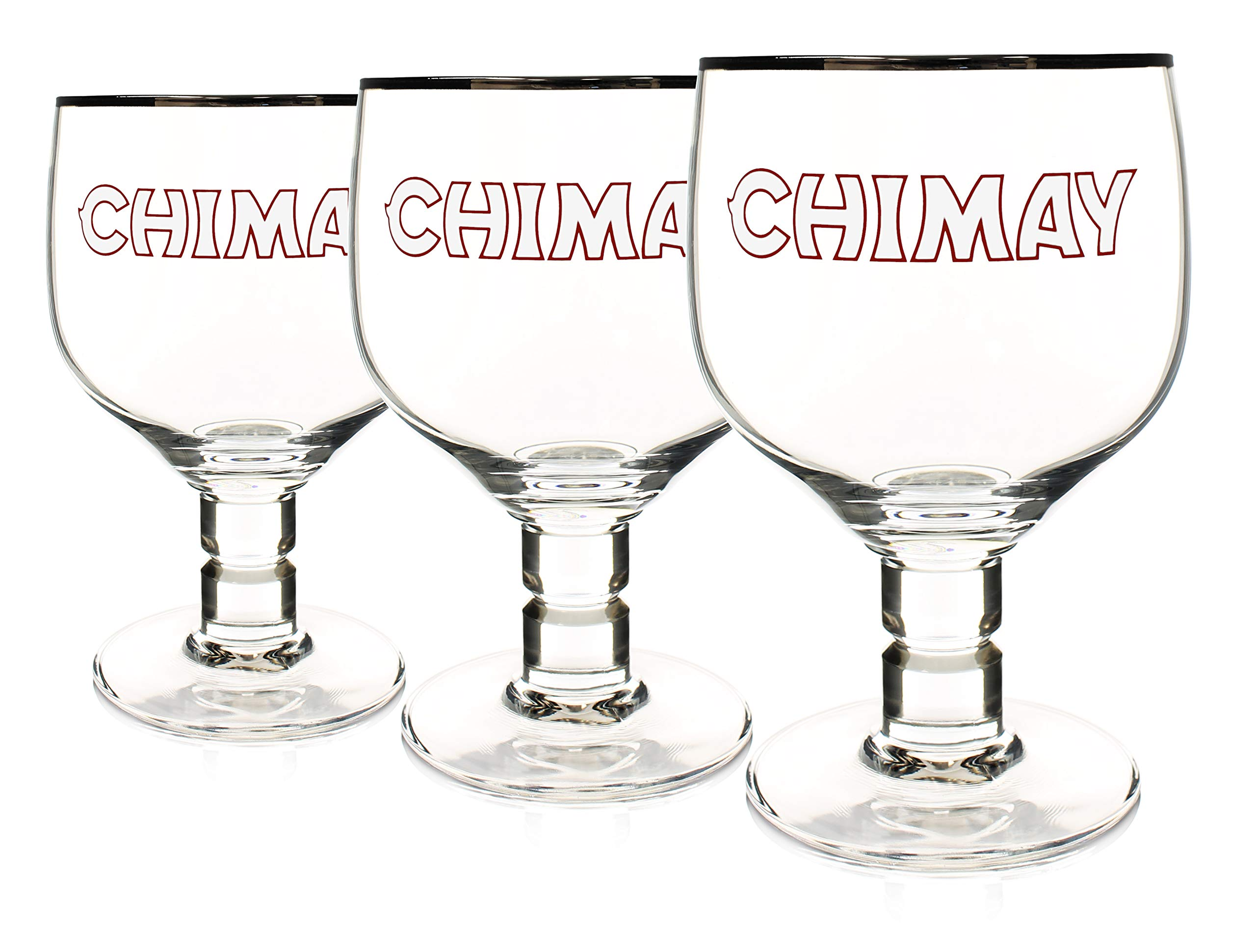 Chimay 3-Pack Original Goblet Chalice Beer Glasses, 33cl