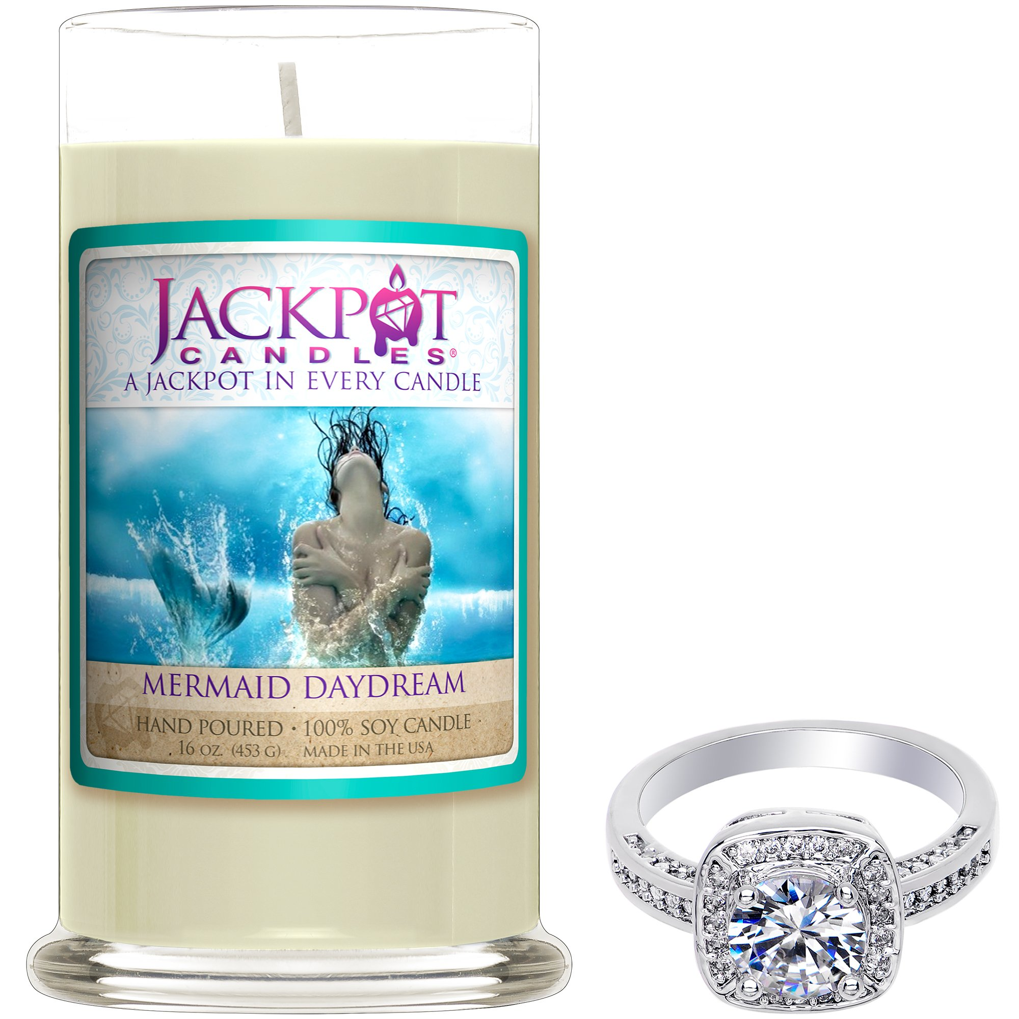 Mermaid Day Dream Candle with Ring Inside (Surprise Jewelry Valued at 15 to 5,000) Surprise Ring Size