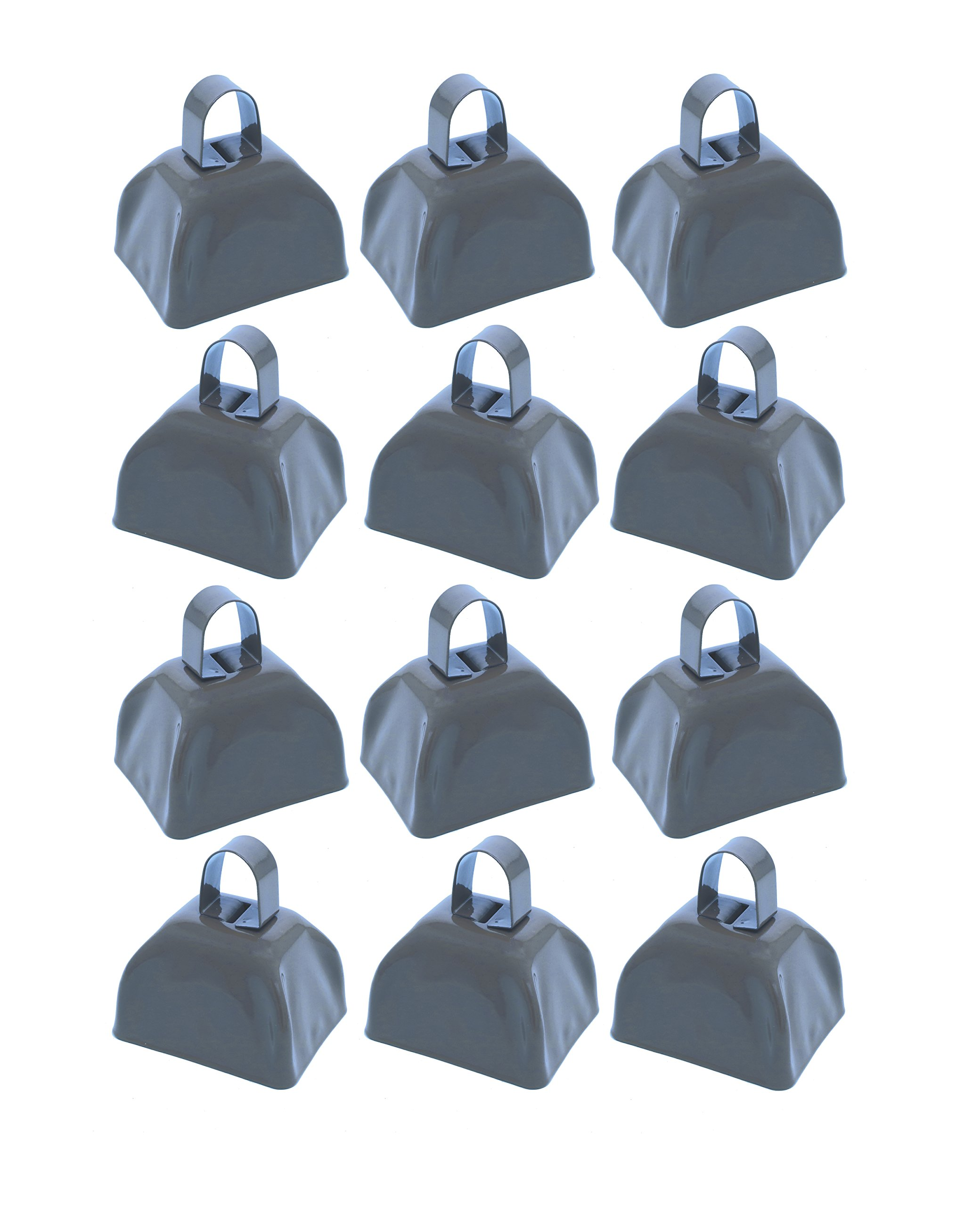 School Cowbells - Set Of 12 Metal Cowbell Noisemakers (Select A Color) (Silver)