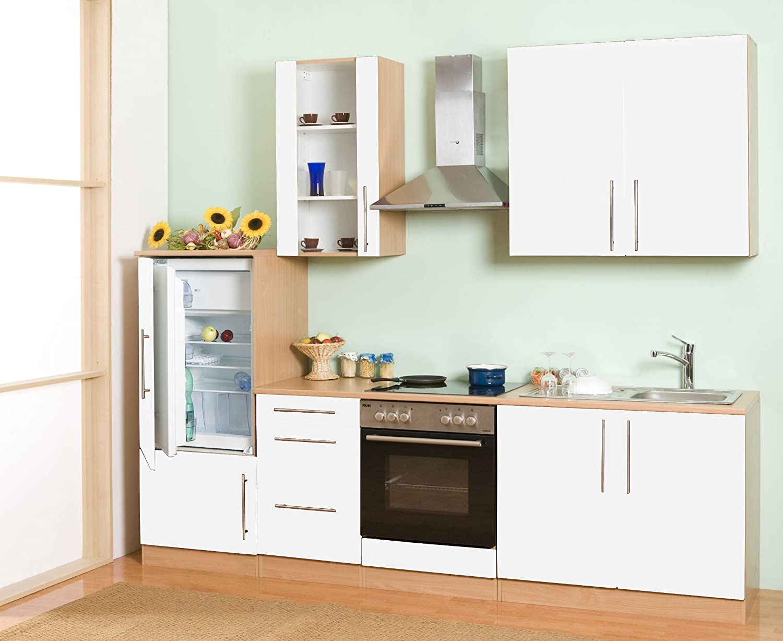 Mebasa MCUKB27BW cocina, moderna cocina, cocina de 270 cm brillante, cocina incluye empotrables - frigorífico empotrable a +, instalación fogones, vitrocerámica, acero inoxidable fregadero, campana extractora PKM DH6090 (madera de roble blanco-):