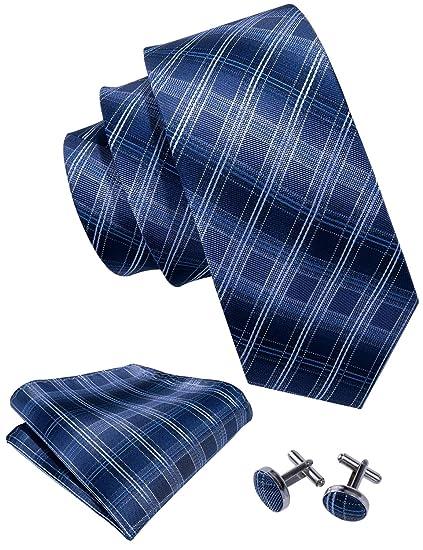 Conjunto de corbata para hombre con gemelos cuadrados en color azul.