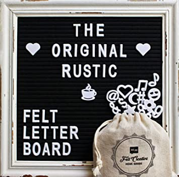 Rustic Felt Letter Board Ultimate Bundle Farmhouse Vintage White Wood Frame and