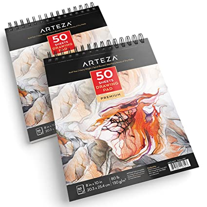 Arteza 8x10 Drawing Pad Pack Of 2 100 Sheets 80lb 130g Spiral Bound Artist Drawing Books 50 Sheets Each Durable Acid Free Drawing Paper Ideal