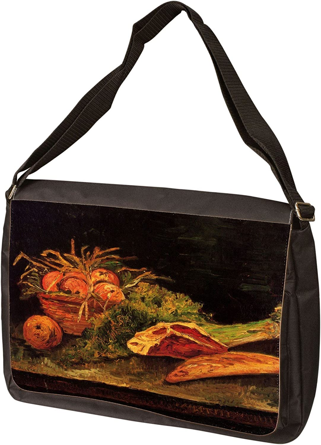 Still Life with Apples Meat and A Roll by Vincent Van Gogh Laptop Shoulder Bag