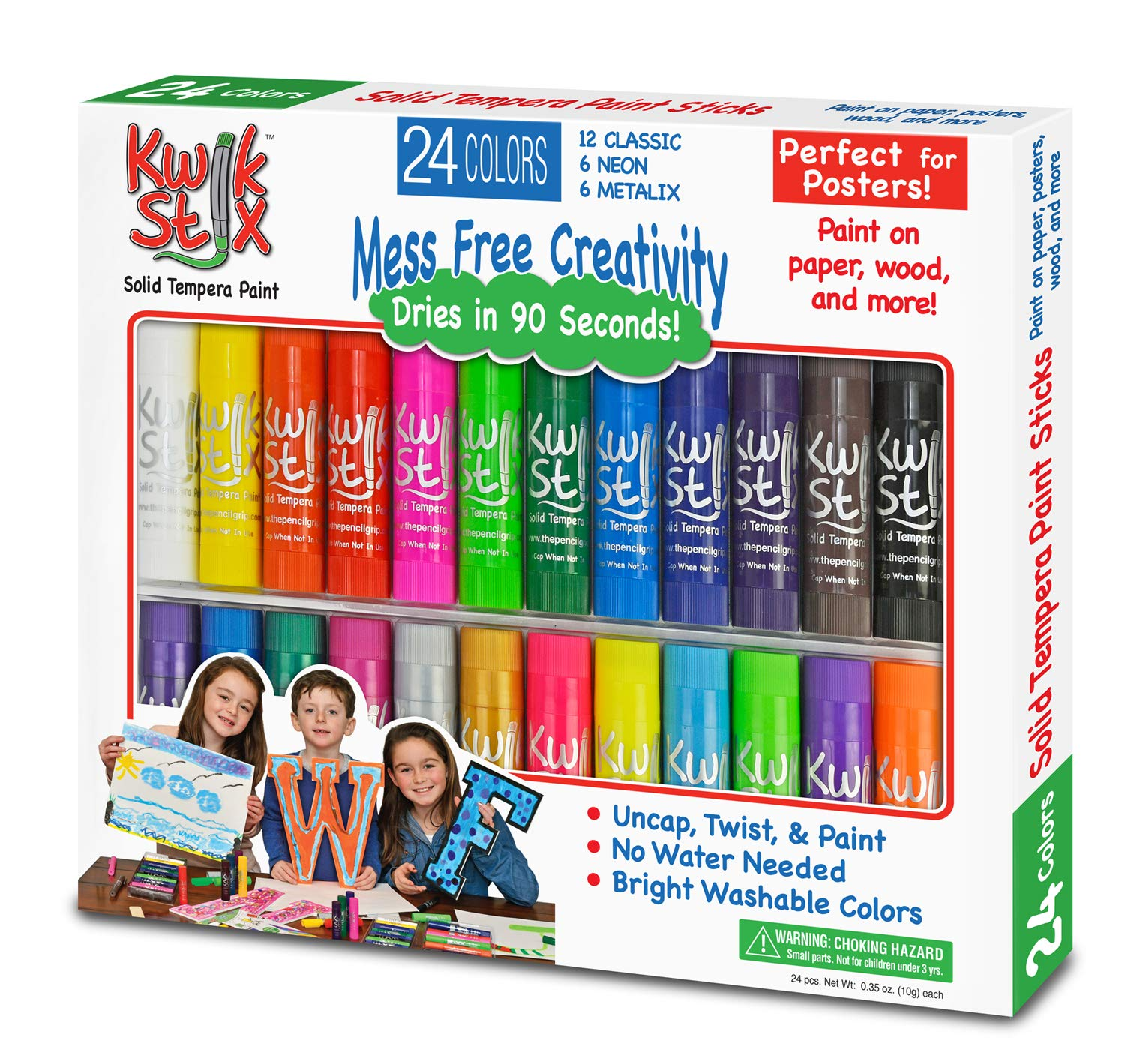 The Pencil Grip Kwik Stix Solid Tempera Paint Combo Pack, Set of 24 by The Pencil Grip