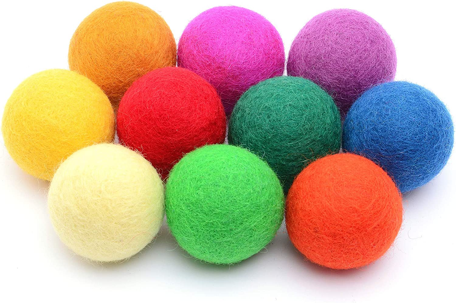 Glaciart One Felt Pom Poms 2.5 Centimeters Handmade Felted 30 Color 1 Inch Red, Blue, Yellow, Gray, Black, White, Pastel and More Wool Balls 60 Pieces Bulk Small Puff for Felting and Garland