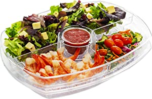 Eternal Living Kitchen Ideas Appetizer Serving Tray on Ice with Lid | Shrimp Cocktail Chilled Bowl with Ice Compartment for Parties, Clear