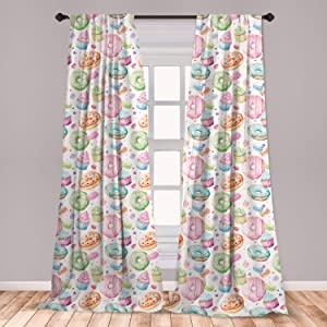 """Ambesonne Colorful Curtains, Watercolor Style Sweets with Glazed Doughnut Macarons and Cupcakes with Frosting, Window Treatments 2 Panel Set for Living Room Bedroom Decor, 56"""" x 84"""", Pale Pink"""