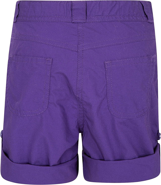 Pantal/ón Corto de algod/ón 100/% para ni/ños Mountain Warehouse Pantal/ón Corto Shore para ni/ña pantal/ón Corto para Vacaciones largas Pantalones con bajo Vuelto