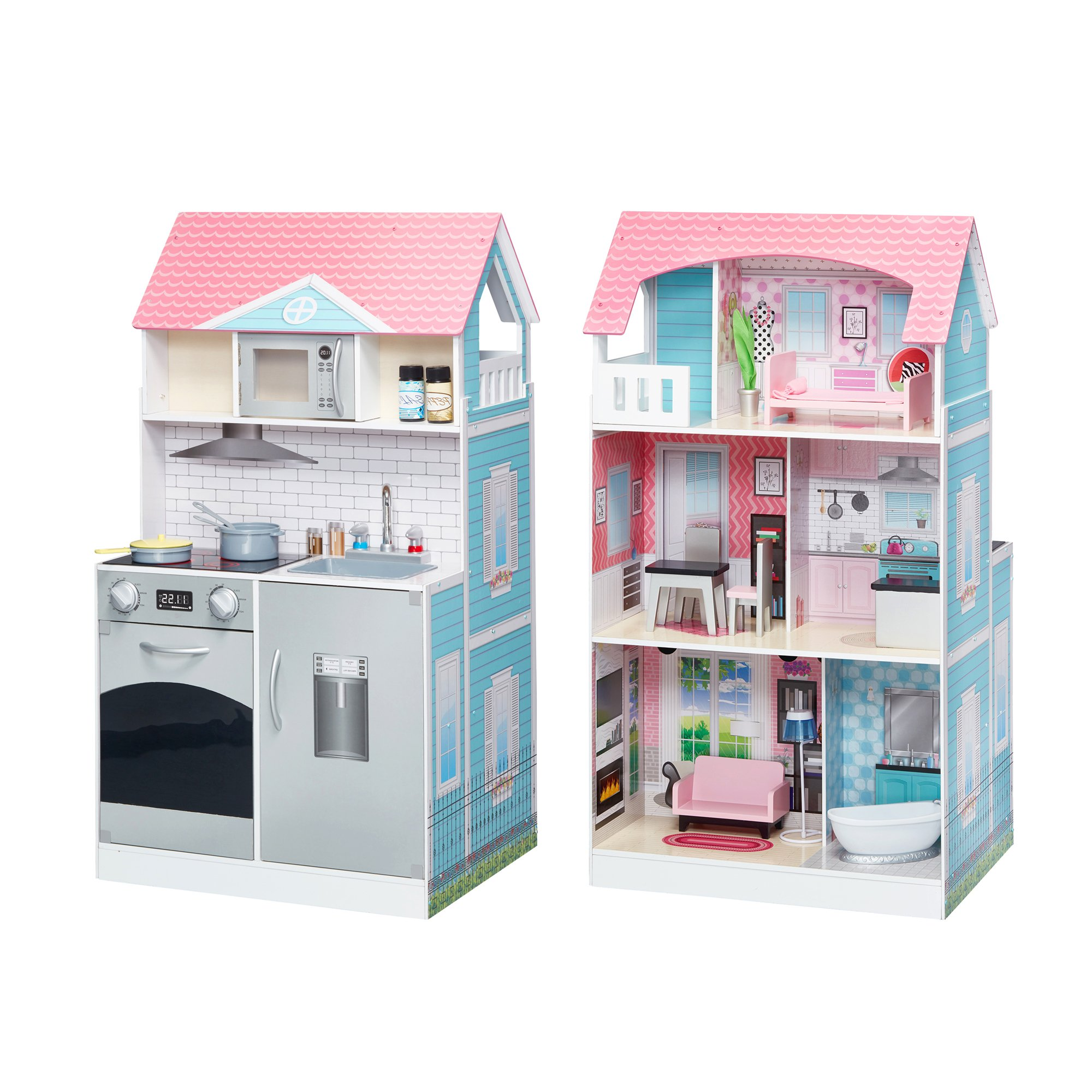 Teamson Kids - Wonderland Ariel 2 in 1 Doll House & Play Kitchen - Muti-color