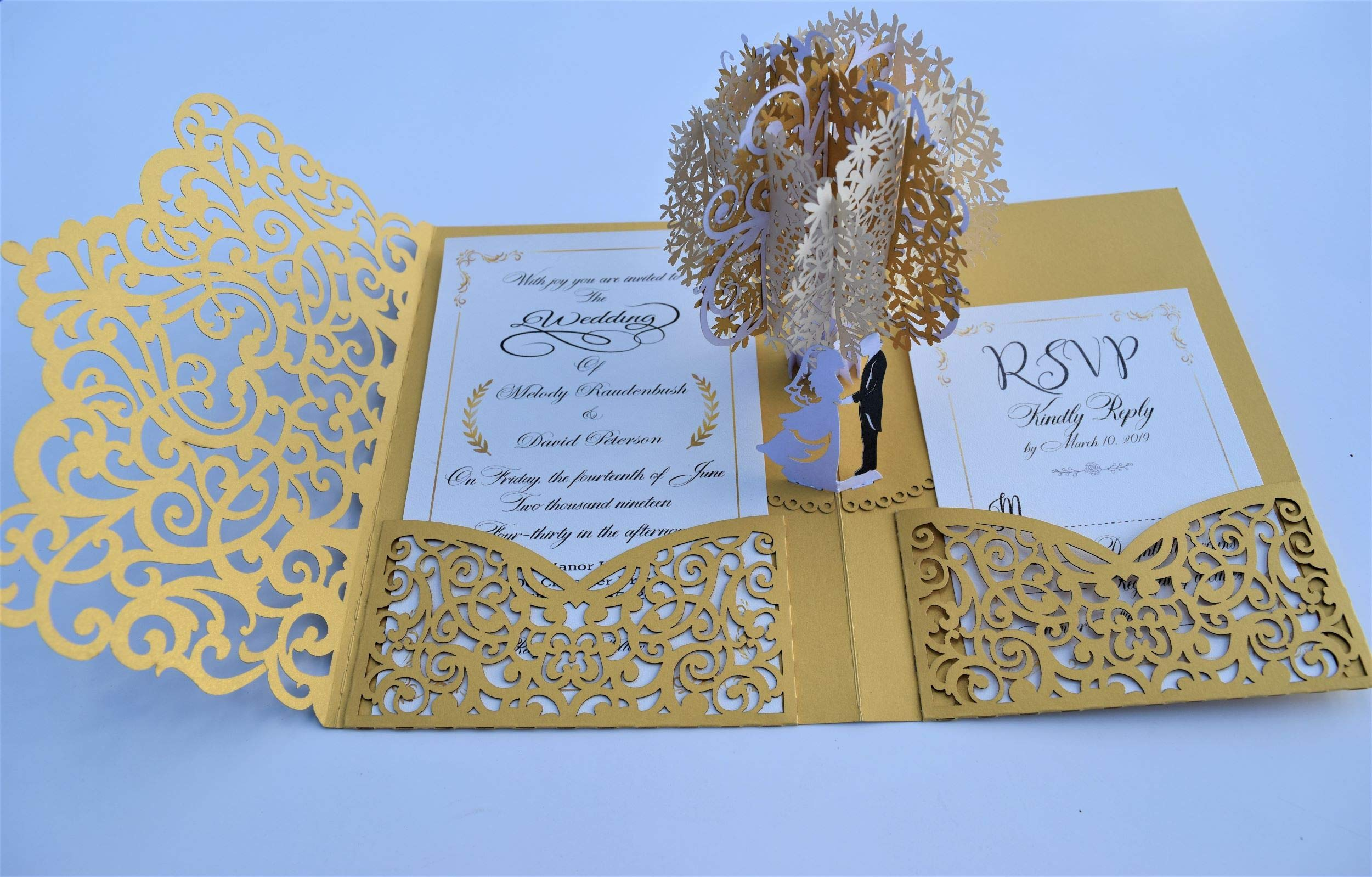 Pop up Wedding Invitation Pocket-Folds with Envelope. Memorable, Unique and Elegant Laser Cut 3D Design by Tada Cards. Perfect for Wedding Thank You Cards (Gold Vintage Tree 10-Pack)