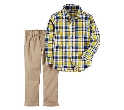 fa935440d Amazon.com: Carter's Boys' 2T-5T 2 Piece Long Sleeve Shirt and Pants ...