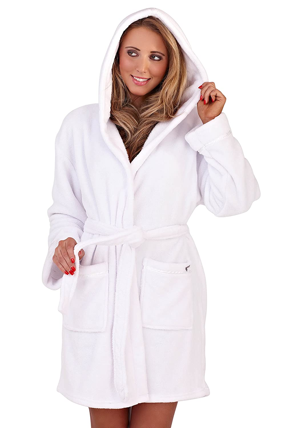 Loungeable Boutique Womens Super Soft Coral Fleece Hooded Robe