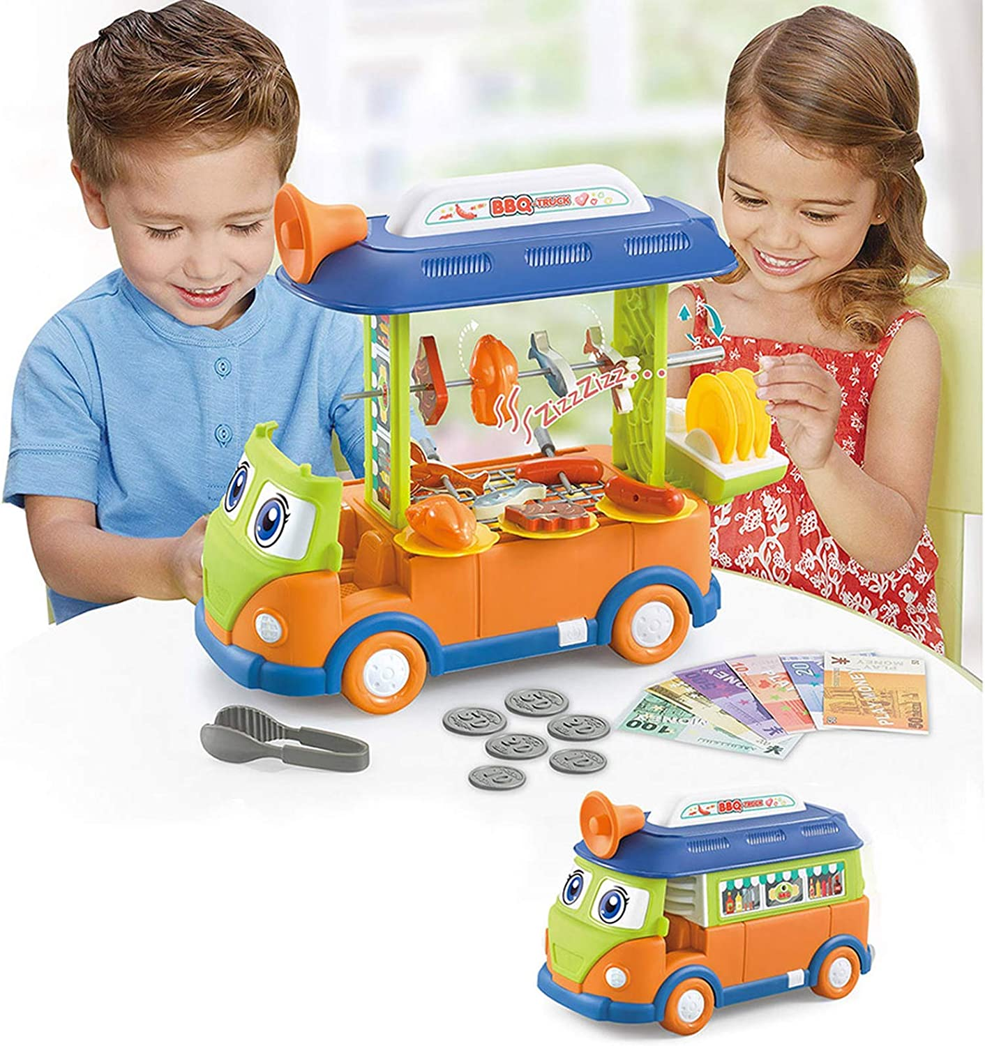 Toy Bus Set Toy Food Truck BBQ Bus for Kids Pretend Play Food Car with Sound and Light-Green Orange