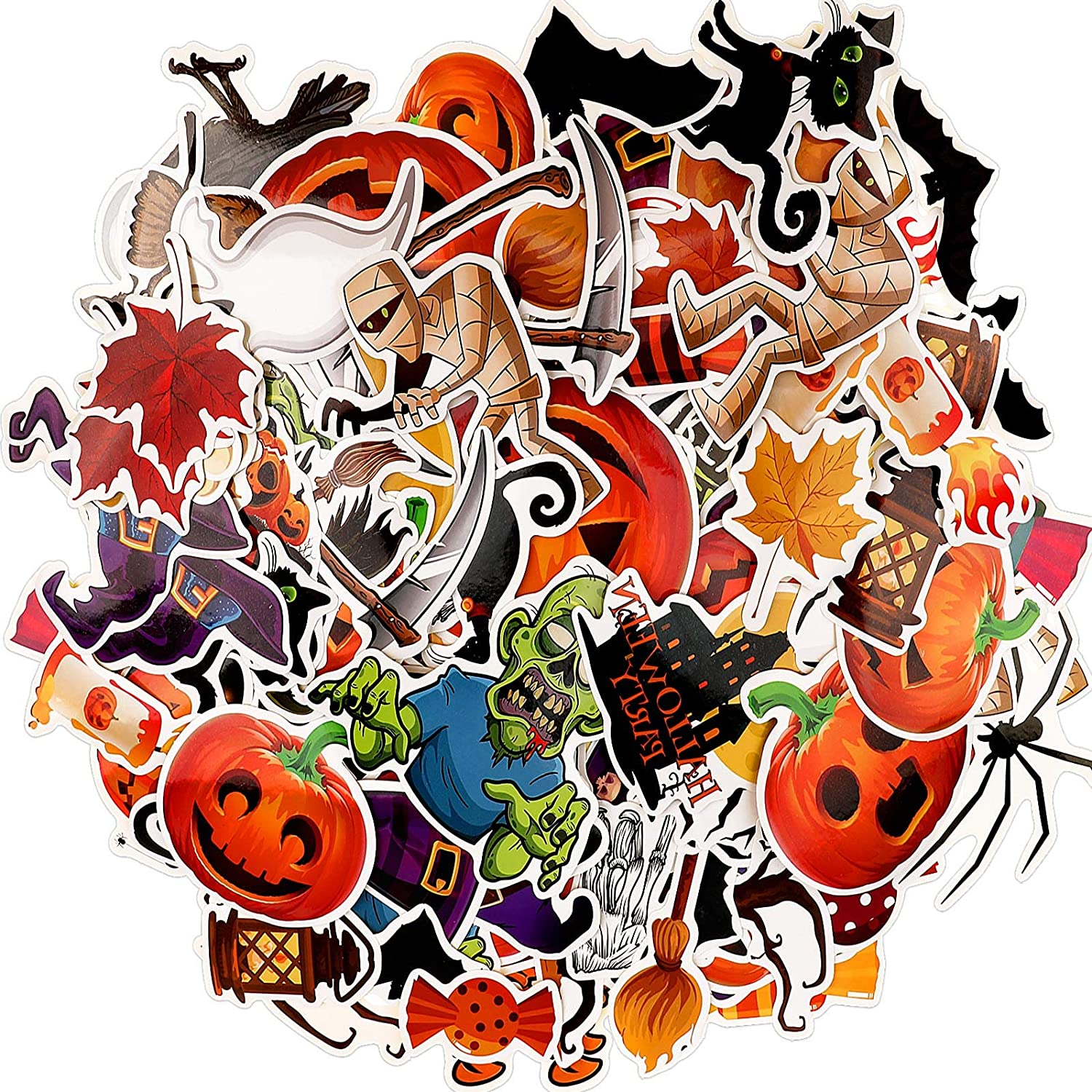 321 Pieces Halloween Stickers Vinyl Water Bottle Stickers Decal Halloween Theme Stickers for Laptop, Skateboard, Cake, Luggage and Bike