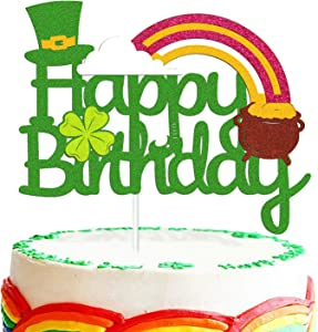 St Patrick's Day Birthday Cake Topper Lucky St Paddy's Day Four Leaf Clover Shamrock Irish Themed Cake Smash Decorations for Happy Birthday 1ST 2nd Bday Party Supplies
