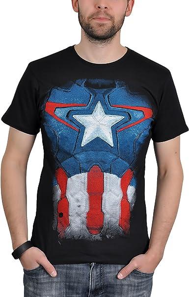 Captain America - Capitán América - T-Shirt Marvel super héroe - Camiseta con licencia - Negro - XXL