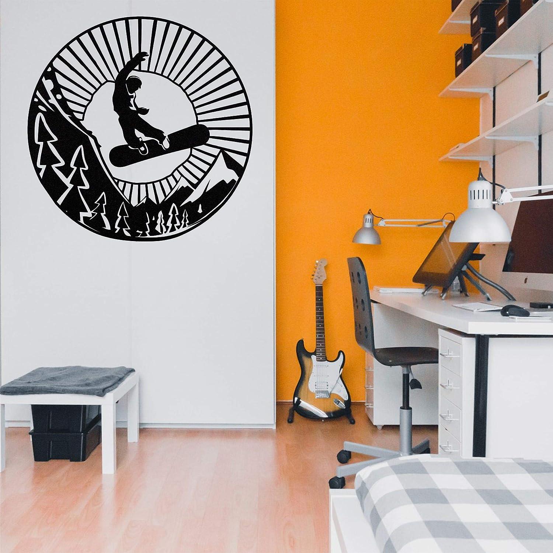 Metal Wall Art, Snowboard Wall Art, Metal Wall Decor, Snowboarder Silhouette, Mountain Tree Art, Wall Hanging (35