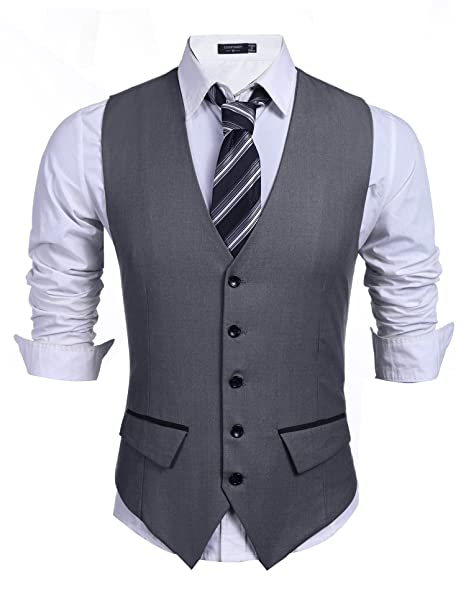 COOFANDY Men\u0027s Business Suit Vest,Slim Fit Skinny Wedding Waistcoat