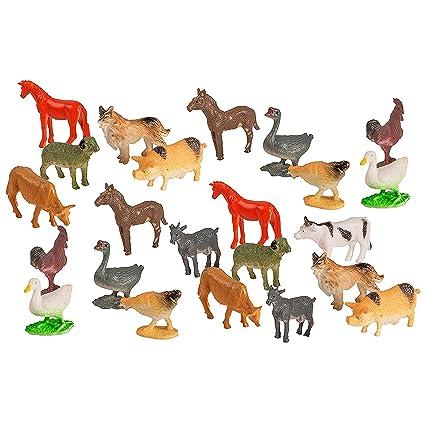 Amazon Com 100 Piece Party Pack Mini Farm Animals Plastic Mini