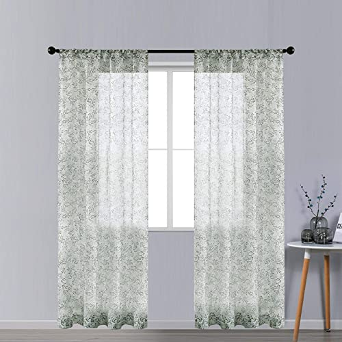 CUTEWIND Pattern Sheer Curtains 84 Inches Long
