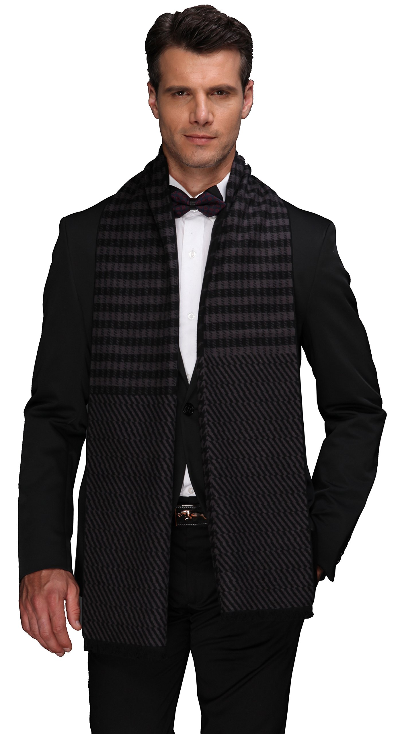 Ellettee Collections, 11'' x 71'' Mens 100% Brushed Silk Scarf, Luxury Fashion Perfect Thanksgiving Gift Neck Wrap Winter Accessory (HeatherGray Houndstooth)