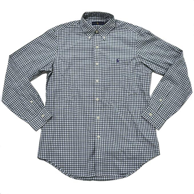 Ralph Lauren Men/'s Button-Down Shirt Poplin Short Sleeve Pony Logo Plaid Solid