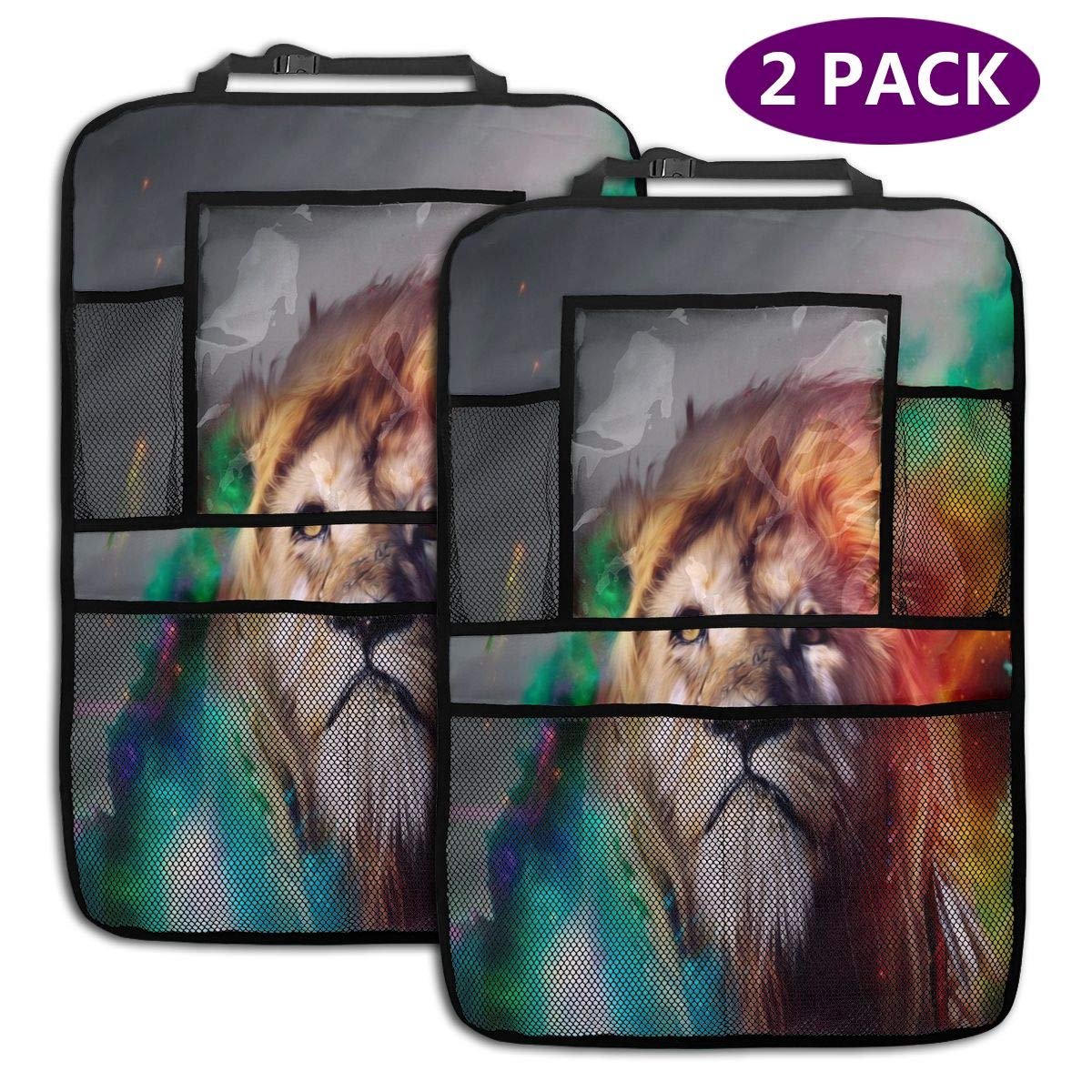 QF6FEICHAN 3D Abstract Fantasy Lion Car Seat Back Protectors with Storage Pockets Kick Mats Accessories for Kids and Toddlers by QF6FEICHAN