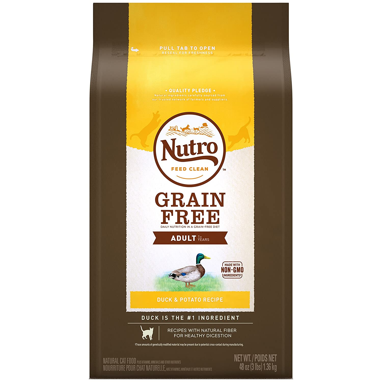 NUTRO Grain-Free Duck & Potato Recipe Adult Dry Cat Food 3 Pounds