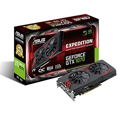 ASUS EX-GTX1070-O8G - Tarjeta gráfica (NVIDIA GeForce GTX 1070, 8GB GDDR5, 7680 x 4320 Pixeles, 1607 MHz, 1797 MHz, 8 GB) Color Negro