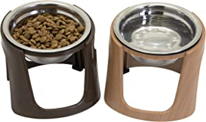 SPORT PET Pet Food Bowls & Mat Kit - Pet Bowl for Dogs Cats & Pets, Slow Feed Bowl, Raised Stainless Steel Bowls, Brown (CM-10084)