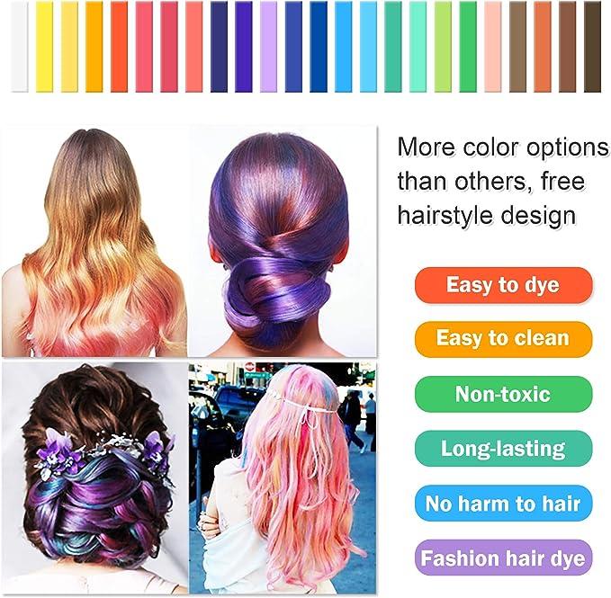 SYOSIN Tiza para el cabello, 24 colores temporales para el ...
